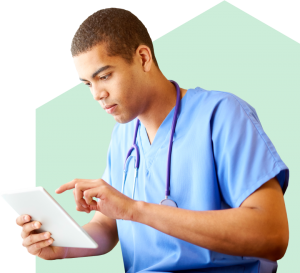 medical professional studying using a tablet