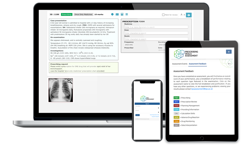 Screenshots of BPS Assessment platform on a laptop, tablet and smartphone